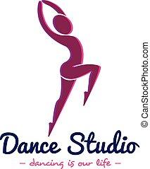 danse, logotype, vecteur, studio, logo., danseur