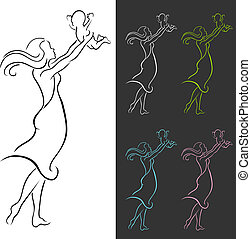 danse, mère, enfant