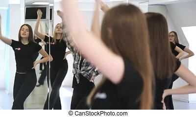 danse, mouvement, filles, choreography., activement, leçon, classe
