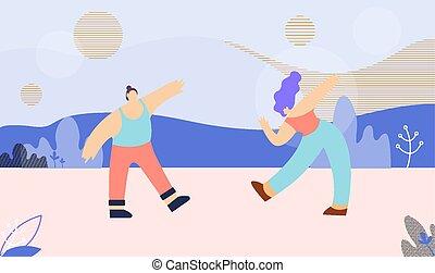 danse, multi ethnique, couple, plat, bannière, gabarit