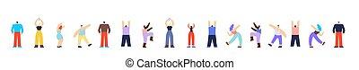 danse, multi ethnique, gens, modèle horizontal