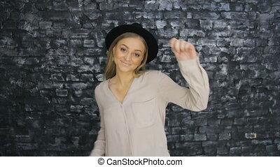 danse, mur, arrière-plan noir, textured, girl, chapeau