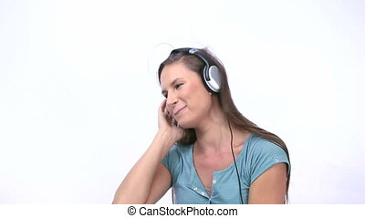 danse, musique, quoique, femme, écoute
