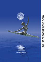 danse, océan, lune