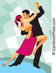 danse, paire, danseurs, salle bal