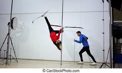 danse, photography., poteau, motion., jeûne
