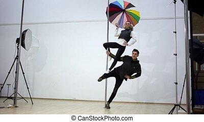 danse, photography., poteau