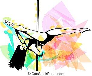 danse, poteau, femme, illustration