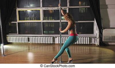 danse, poteau, femme, jeune