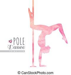 danse, poteau, illustration