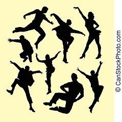 danse, robinet, femmes, silhouette, homme