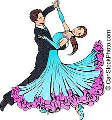 danse, salle bal, couple, classique, jeune, danse