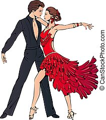 danse, salle bal, couple, jeune, latin, danse