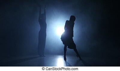 danse salle bal, enfumé, studio, exécuté, émotif, gracieux, champions