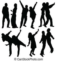 danse, sauter, silhouette, gens