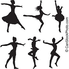 danse, silhouette, femme, -