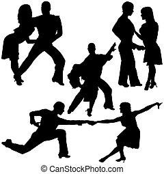 danse, silhouettes, latino