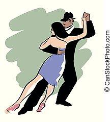 danse, tango., couple, jeune, tango, vecteur, conception, dance:, posé couches