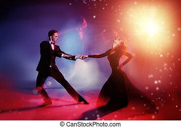 danse, vigoureux, tango