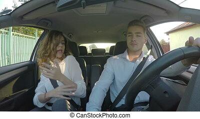 danse, voiture, couple, jeune, amusement, chant, heureux
