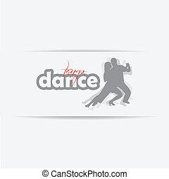 dansend koppel, achtergrond, vrijstaand, silhouette, witte
