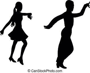 dansend koppel, silhouette, vector