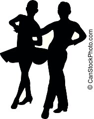 dansend koppel, vector, silhouette