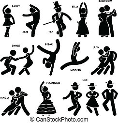 dansende, baldamen, pictogram