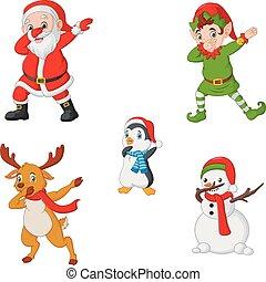 dansende, jul, cartoon, santa claus, alf, reindeer, pingvin, og, snemand