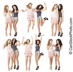 dansende meisjes, twee, nacht, het genieten van, vrienden, uit