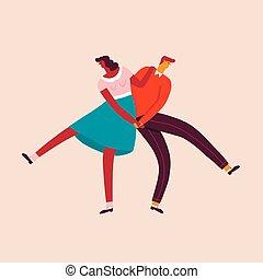 dansende, par, style., retro, bogstaverne, 50, card