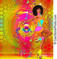 danser, retro, kleurrijke, disco