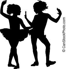 danser, silhouette, kinderen