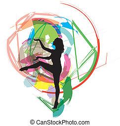 danser., vecteur, illustration