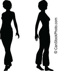 danser, vrouw, silhouette