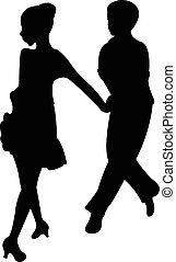 dansers, kinderen, twee, tango