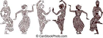 dansers, set, indiër