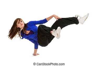 danseur, adolescent, sportif, coupure, action