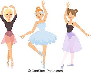 danseur, ballerine, girl, vecteur