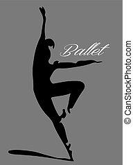 danseur, ballet, 2, silhouette, letterin