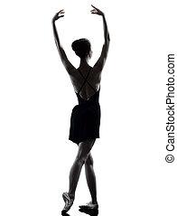danseur, ballet, chauffage, jeune femme, silho, haut, étirage, ballerine