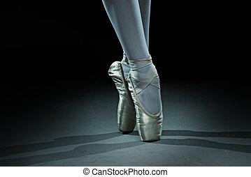 danseur ballet, -, chaussures, or