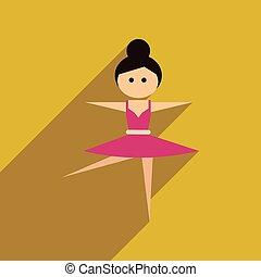 danseur, ballet, icône, toile, long, ombre, plat