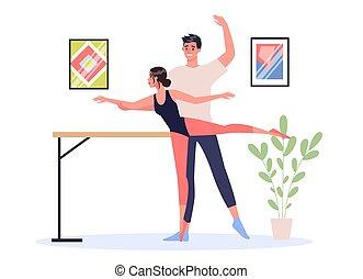 danseur, ballet, jeune, debout, pose., femme, artistique, mâle