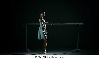 danseur, ballet, mouvement, abricot, tutu., lent, porter, jeune