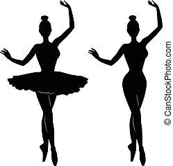 danseur ballet, silhouette, femme