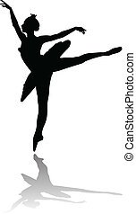 danseur, ballet, silhouette