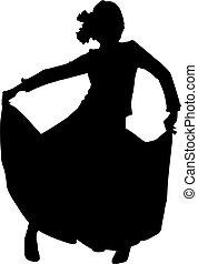 danseur, femme, silhouette