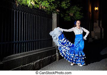 danseur flamenco, dans, vieille ville, rue