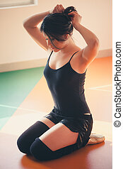 danseur, formation, femme, jeune, préparer